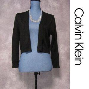 Calvin Klein Black Sparkle Knit Sweater Shrug Sz M